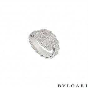 Bvlgari White Gold Diamond Serpenti Ring 345209